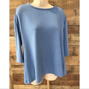 Philosophy Blue Knit Shirt 3/4 Sleeves Small